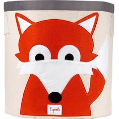 This 3 Sprouts Fox Storage Bin is ideal in the nursery or children's bedroom for storing toys or clothes, or use as a laundry basket. The 3 Sprouts Storage Bin is made from cotton canvas with a polyester felt applique. Nursery Storage Baskets, Toy Storage Bins, Toy Bins, Kids Storage, Easy Storage, Storage Organization, Fabric Storage, Bedroom Storage, Storage Ideas