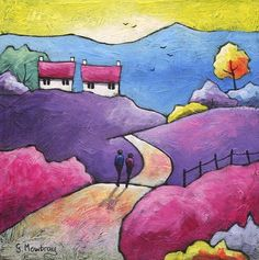 Returning by Gillian Mowbray Art And Illustration, Landscape Art, Landscape Paintings, Landscapes, Art Populaire, Guache, Naive Art, Whimsical Art, Beautiful Paintings