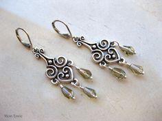 Pale Gray Glass Teardrops, Antiqued Silver Filigree, Victorian Chandelier Earrings. $9.00, via Etsy.