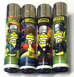 4 x GENUINE CLIPPER LIGHTERS MR CLIPPER SIMPSON GAS FLINT REFILLABLE LIGHTER