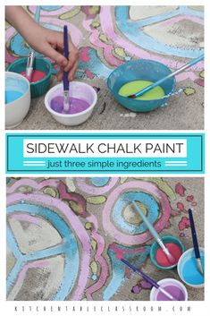 My kids love sidewalk chalk paint but buying it is expensive. But being stingy with supplies takes the fun out making art. This sidewalk chalk paint DIY recipe is so easy and inexpensive to make your kids can even do it themselves. Three ingredients that Preschool Art, Craft Activities For Kids, Toddler Activities, Projects For Kids, Diy For Kids, Summer School Activities, Family Activities, Kids Outdoor Activities, Outdoor Games For Toddlers