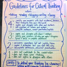 Critical thinking-- Guidelines...use for a rubric?