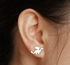 dragon earring studs in sterling silver handmade in by huiyitan, £29.00