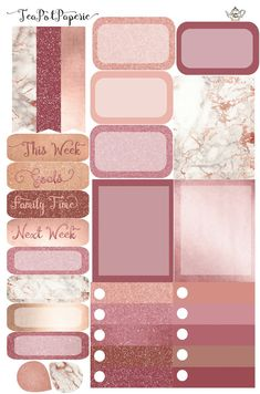 Rose Gold full Weekly Kit planner stickers for ECLP IWP