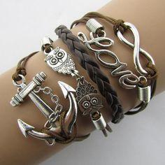 2016 Charm Vintage Anchor Rudder 8 Bronze Wax Cords Multilayer Braided Bracelets For Women B5 B103