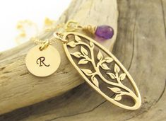 Personalized Tree of Life Gold Filled Initial and Gemstone Necklace by TNine Design, $48.00