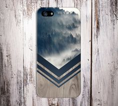 Mountain Fog Navy Chevron Wood Nature Case iPhone 6, iPhone 6 Plus, Rubber iPhone Case, Galaxy S7, Samsung Galaxy Case, Note 5, CASE ESCAPE