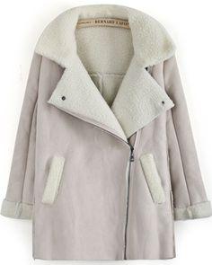 Abrigo de gamuza de lana solapa manga larga-Beige EUR€30.23