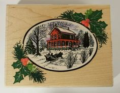 White Christmas Rubber Stamp Sleigh Victorian House Holly Stampendous! R008…