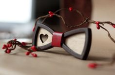 Wooden Bow Tie for women. 3D bow tie with red leather and heart. Little bow tie…