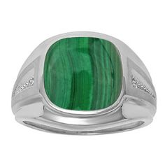 Diamond and Green Malachite Men's Large Ring In White Gold Father's Day 2015 Unique Jewelry Gift Presents and Ideas. Gemologica.com offers a large selection of rings, bracelets, necklaces, pendants and earrings crafted in 10K, 14K and 18K yellow, rose and white gold and sterling silver for that special dad. Our complete collection and sale of personalized and custom gifts for dad: www.gemologica.com/mens-jewelry-c-28.html