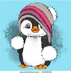 a cartoon penguin in a hat. Character for Christmas and New Year's design. Vector illustration