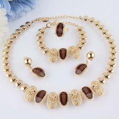2014 grátis frete 18 k Gold Filled cristal austríaco colar pulseira brinco anel conjunto de jóias de casamento para as mulheres