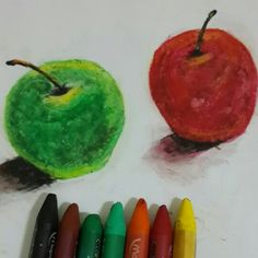 Oil pastel apples
