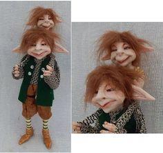 Tick n' Tock Elf Father & Son OOAK Fairy Fairies Sculpture Art Doll Posable NEW #handmade