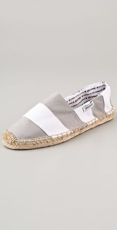 Flat espadrilles are everywhere for summer.