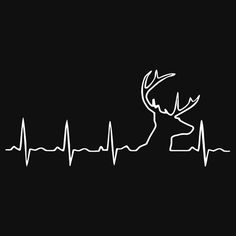 'Hunting Heartbeat - Deer Heartbeat Limited' T-Shirt by sangdo Man Crafts, Vinyl Crafts, Vinyl Projects, Wood Burning Stencils, Wood Burning Patterns, Deer Skull Tattoos, Deer Stencil, Deer Silhouette, Silhouette Projects