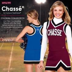 Rock the stadium with cheer uniforms from the Chasse Cheer Stadium collection.    Shop now: http://www.cheerleadingonline.com/Uniforms/Chasse-Cheerleading-Uniforms/Stadium-Cheer-Uniforms/