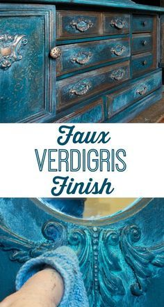 Faux Verdigris Finish Paint Technique. Great on Furniture, Home Decor Projects and crafts. Thicketworks for Graphics Fairy.