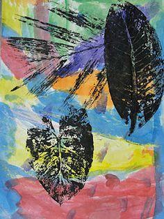leaf prints on watercolor