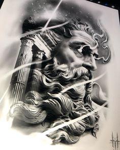 Zeus Tattoo, Poseidon Tattoo, Heaven Tattoos, God Tattoos, Tattoo Sleeve Designs, Sleeve Tattoos, Greek Mythology Tattoos, Roman Mythology, Aztec Warrior Tattoo