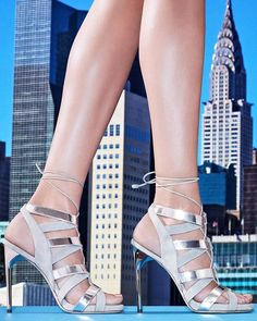 9d2f9153fd4 Silver Cityscape in the  PaulAndrew TEMPEST sandal Lace Up Sandals