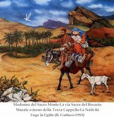 Fuga in Egitto ( 1983 ), Renato Guttuso. Madonna del Sacro Monte, murale esterno della Terza Cappella.