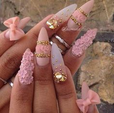 Cute Dope Pink Gold Nails Rose