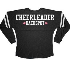 Cute Cheerleader Backspot Long Sleeve Squad Slub | Being the backspot on a stunt cheer leading team is an important thing! You protect everybody, and I mean everybody. The flyer, the spot, the base, they all depend on you to save them if something goes wrong. It's like the ultimate trust fall. This long sleeved tee is perfect for the backspot! Gymnastics Shirts, Gymnastics Wear, Gymnastics Equipment, Gymnastics Pictures, Gymnastics Outfits, Gymnastics Leotards, Gymnastics Stuff, Funny Gymnastics Quotes, Tumbling Gymnastics