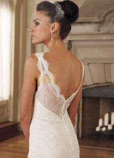Absolutely adore the look from head to toe.  Back - Grace Sheath V-Neck Embroidery Satin Lace Wedding Dress -