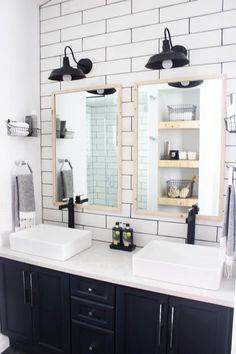 Bathroom renovation. Farmhouse fixer upper style. White shiplap, subway tile, stand up shower, wood ceiling, black tile floor, #ad #bathroom #shiplap #subwaytile #fixerupper #farmhouse
