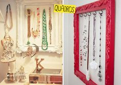 Picture frames, curtain rods, and busts as jewelry organization. Take an old picture frame, paint it. Add some hooks. Take a curtain rod or any rod and lay it on hooks or attach it to the wall. #DIY #organize #jewelry. #DIY #organize #necklaces. #DIY #organize #bracelets. #DIY #organize #necklace. #DIY #organize #bracelet.