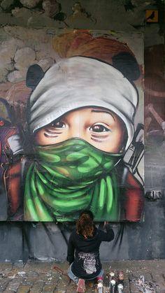 Artist :Doudou style..Fresque Enfants soldats au Point Ephémère Paris 23/11