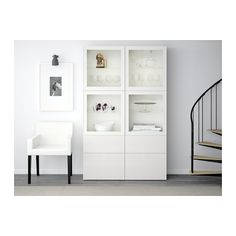 "BESTÅ Storage combination w/glass doors - white/Selsviken high gloss/white clear glass, drawer runner, soft-closing, 47 "" - IKEA At Home Furniture Store, Modern Home Furniture, Dining Room Storage, Ikea Inspiration, Tempered Glass Shelves, Adjustable Shelving, Home Furnishings, Room Decor, Diner Decor"