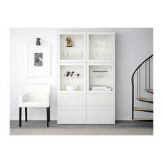 BESTÅ Vitrine, weiß, Selsviken Hochglanz/Klarglas weiß weiß/Selsviken Hochglanz/Klarglas weiß 120x40x192 cm Schubladenschiene, Drucksystem