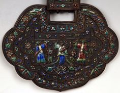 Antique Oriental Chinese Enameled Hand Mirror W By