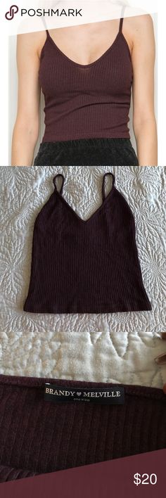 Brandy Melville burgundy ribbed Joanne tank Brandy Melville burgundy ribbed Joanne crop tank. Worn once, perfect condition! Brandy Melville Tops Crop Tops