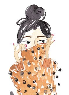 Sweater weather by Dinda Puspitasari. Watercolor & digital. #girl #bun #sweater #watercolor #illustration
