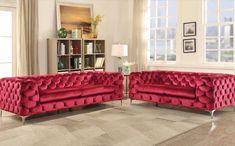 Red tufted sofa in velvet fabric