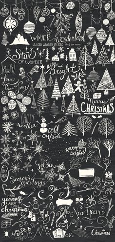 Winter Wonderland Bundle by Alaina Jensen on Creative Market - cards - Chalk Art Christmas Art, Winter Christmas, Christmas Decorations, Christmas Doodles, Winter Wonderland Christmas, Christmas Things, Christmas Design, Christmas Lights, Chalkboard Lettering