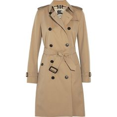 Burberry London The Kensington Long cotton-gabardine trench coat ($2,025) ❤ liked on Polyvore featuring outerwear, coats, jackets, casacos, coats & jackets, brown, trench coat, double breasted coat, brown trench coat and slim fit trench coat