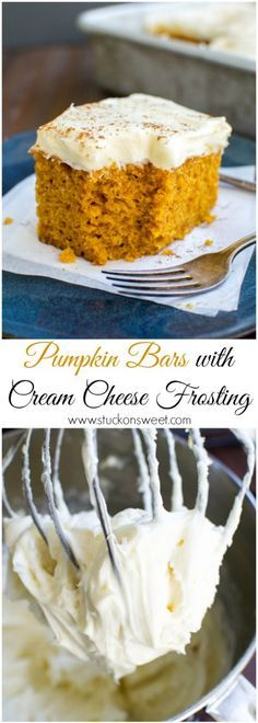 Pumpkin Bars with Cream Cheese Frosting. One of my favorite Fall dessert recipes! |www.stuckonsweet.com
