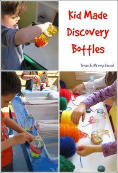Kid made discovery bottles by Teach Preschool
