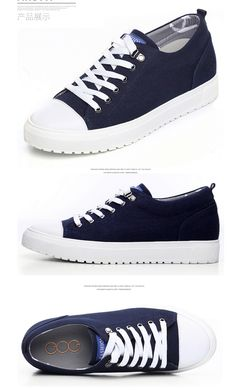 Korean elevator canvas shoes height gain 6cm   2.36inch blue lace up  sneakers f1dd7328ab6c