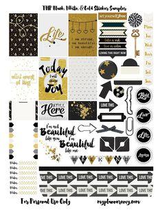 Black, White, & Gold Sampler | My Planner Envy