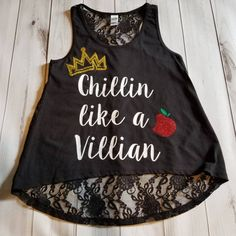 Womens Descendants Glitter Sparkle Rotten to the Core Crown Apple Birthday Black Lace back Tank Top Small Medium Large XL 2XL