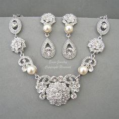 Vintage Style Bridal WEdding Necklace Earrings Jewelry Sets, Rhinestone  Cream Ivory Pearls Art Deco Silver Wedding Jewellery Set ETSY-Eminjewelry