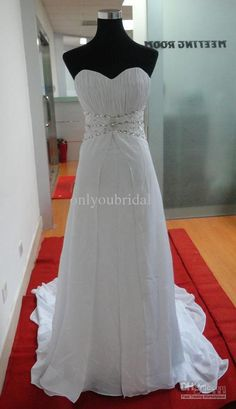 Wholesale Wedding Dresses - Buy Strapless Sweet Heart Neck Beaded A Line Chiffon Beach Ladies Wedding Dresses Women Formal Wear, $73.86 | DH...