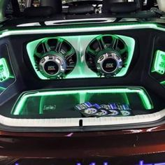 XThunder #amplifiers displayed behind plexi glass windows with MTX subwoofers in this custom trunk install. #mtxaudio
