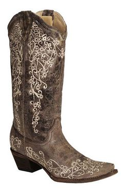 Corral Women's Brown Crater Bone Embroidery Cowgirl Boots [A1094]